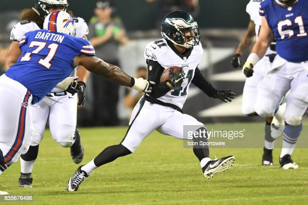 Philadelphia Eagles defensive back Mitchell White runs the ball after his late game interception during a Preseason National Football game between...