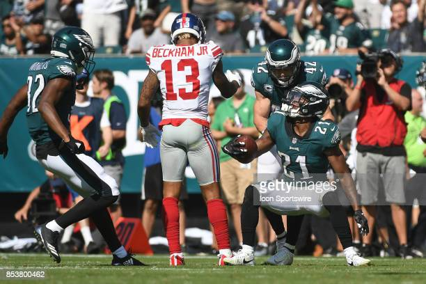 Philadelphia Eagles defensive back Patrick Robinson intercepts a pass intended for New York Giants wide receiver Odell Beckham during a NFL football...