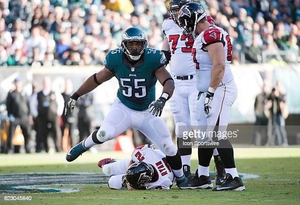 Philadelphia Eagles Defensive End Brandon Graham stands over Atlanta Falcons Quarterback Matt Ryan after a sack in the first half during the game...