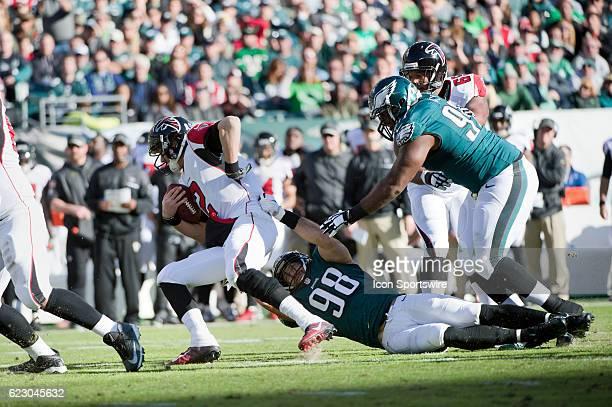 Philadelphia Eagles Defensive End Connor Barwin sacks Atlanta Falcons Quarterback Matt Ryan in the first half during the game between the Atlanta...
