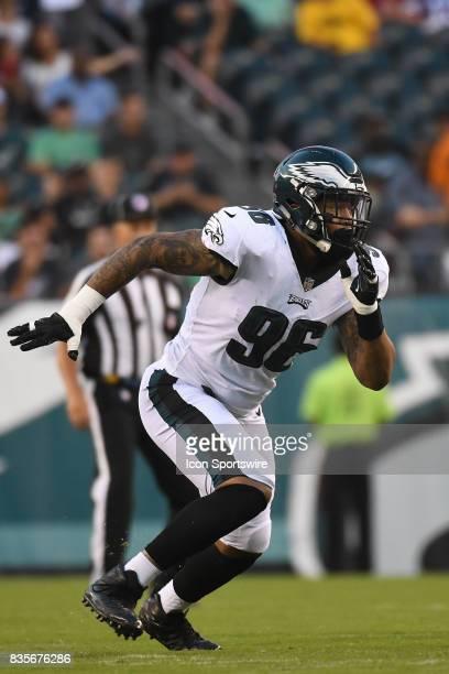 Philadelphia Eagles defensive end Derek Barnett rushes the pocket during a Preseason National Football game between the Buffalo Bills and the...
