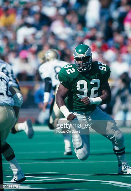 Philadelphia Eagles' Defensive Lineman Reggie White runs during a game in 1991 at Veterans Stadium in Philadelphia Pennsylvania