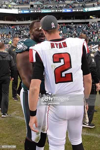 Philadelphia Eagles Defensive Tackle Fletcher Cox and Atlanta Falcons Quarterback Matt Ryan shake hands during a National Football League game...