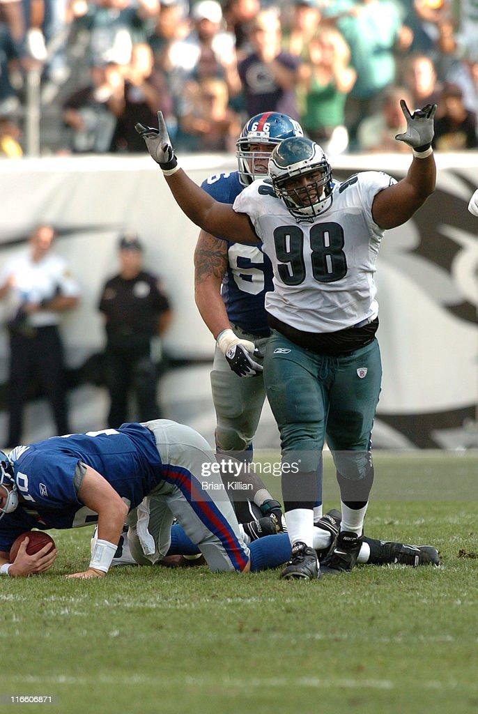 Philadelphia Eagles defensive tackle Mike Patterson reacts after sacking New York Giants quarterback Eli Manning on Sunday September 17 2006 at...