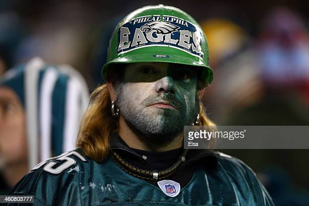Philadelphia Eagles fan looks on their NFC Wild Card Playoff game against the New Orleans Saints at Lincoln Financial Field on January 4 2014 in...