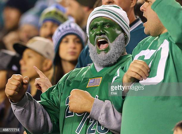 Philadelphia Eagles fan sings the team fight song after the Eagles scored a touchdown against the Carolina Panthers on November 10 2014 at Lincoln...