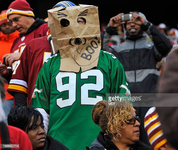 Philadelphia Eagles fan watches in the closing minutes of the game with the Washington Redskins at FedEx Field in Landover MD Sunday November 18 2012