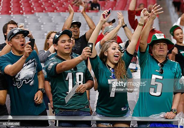 Philadelphia Eagles fans cheer prior to the NFL game against the Arizona Cardinals at the University of Phoenix Stadium on October 26 2014 in...