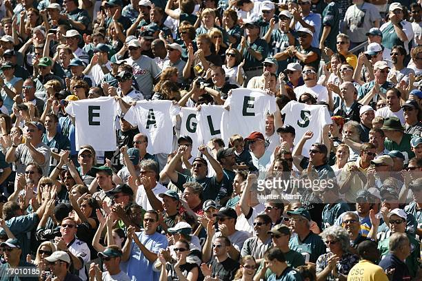 Philadelphia Eagles fans hold up an EAGLES sign during a game against the Detroit Lions on September 23 2007 at Lincoln Financial Field in...