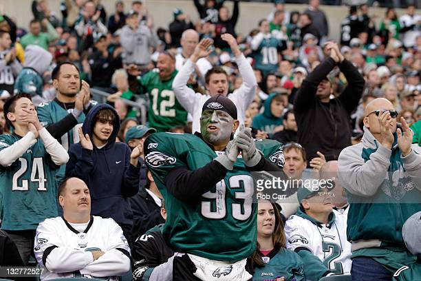 Philadelphia Eagles fans react to a play against the Arizona Cardinals at Lincoln Financial Field on November 13 2011 in Philadelphia Pennsylvania...