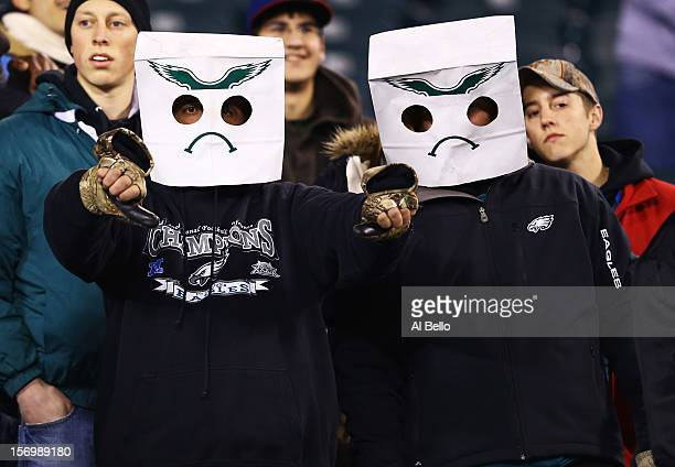 Philadelphia Eagles fans show their displeasure after losing to the Carolina Panthers 3022 loss at Lincoln Financial Field on November 26 2012 in...