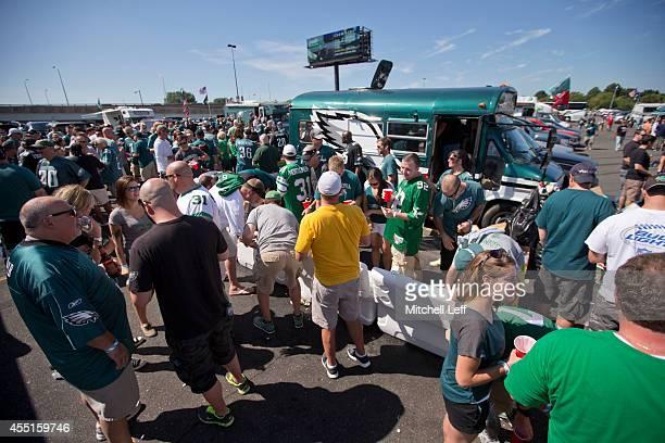 Philadelphia Eagles fans tailgate prior to the game against the Jacksonville Jaguars on September 7 2014 at Lincoln Financial Field in Philadelphia...