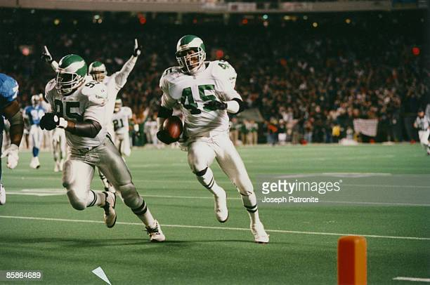Philadelphia Eagles free safety Barry Wilburn returns an interception 24 yards for a touchdown during a 5837 NFC Wildcard victory over the Detroit...