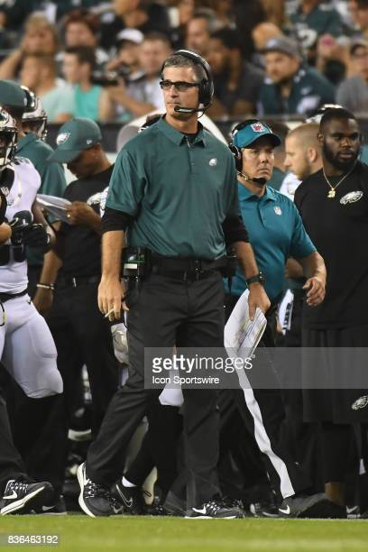Philadelphia Eagles offensive coordinator Frank Reich looks on during a NFL preseason game between the Buffalo Bills and the Philadelphia Eagles on...