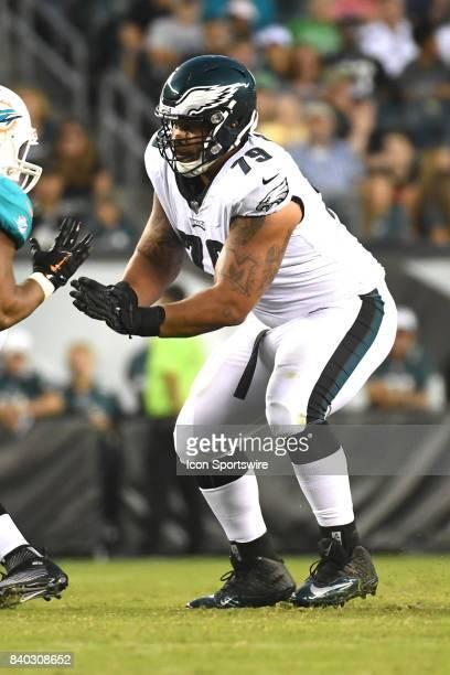 Philadelphia Eagles offensive guard Brandon Brooks blocks during a NFL preseason game between the Miami Dolphins and the Philadelphia Eagles on...