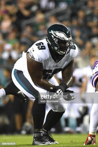 Philadelphia Eagles offensive guard Dillon Gordon gets set during a NFL preseason game between the Buffalo Bills and the Philadelphia Eagles on...