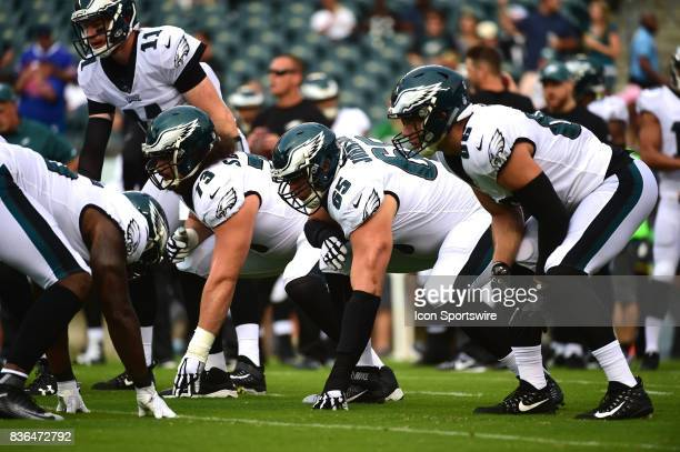 Philadelphia Eagles offensive line warms up during a NFL preseason game between the Buffalo Bills and the Philadelphia Eagles on August 17 2017 at...