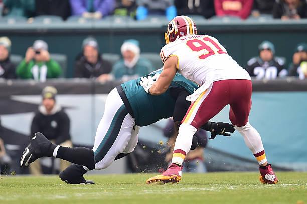 0b16ba9f8 ... Jason Peters (71) blocks Washington Redskins Linebacker Ryan Kerrigan ( Nike  Eagles 71 Jason Peters Green Womens Stitched NFL Limited Salute to Service  ...