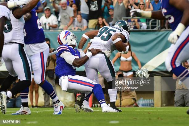 Philadelphia Eagles outside linebacker Mychal Kendricks is tackled by Buffalo Bills quarterback Tyrod Taylor after his fumble recovery during a...
