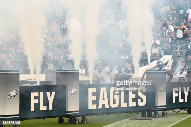 Philadelphia Eagles quarterback Carson Wentz leads his team onto the field during a Preseason National Football game between the Buffalo Bills and...
