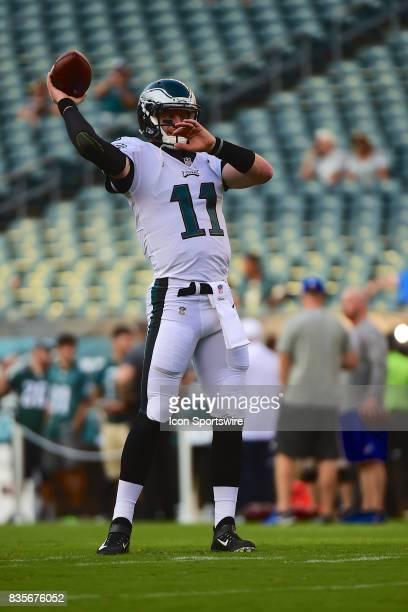 Philadelphia Eagles quarterback Carson Wentz warms up during a Preseason National Football game between the Buffalo Bills and the Philadelphia Eagles...