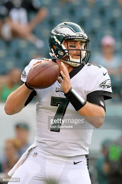 Philadelphia Eagles quarterback Dane Evans warms up before the NFL preseason game between the Buffalo Bills and the Philadelphia Eagles on August 17...