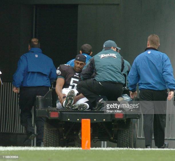 Philadelphia Eagles quarterback Donovan McNabb is carted off the field after sustaining a leg injury against the Tennessee Titans at Lincoln...