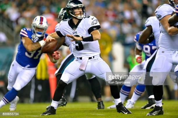 Philadelphia Eagles quarterback Matt McGloin fades back to pass during the NFL preseason game between the Buffalo Bills and the Philadelphia Eagles...