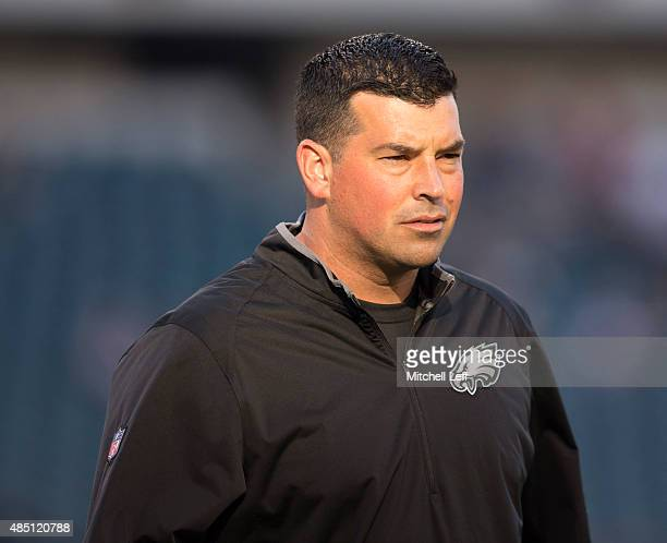 Philadelphia Eagles quarterbacks coach Ryan Day looks on prior to the game against the Baltimore Ravens on August 22 2015 at Lincoln Financial Field...