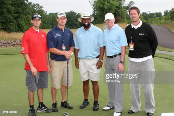 Philadelphia Eagles Quarterbacks Koy Detmer Kevin Kolb Donovan McNabb Jeff Garcia and AJ Feeley during the Donovan McNabb Foundation Golf Classic at...