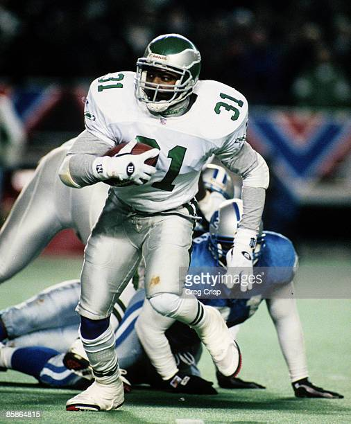Philadelphia Eagles running back Derrick Witherspoon carries the football during the Eagles 5837 victory over the Detroit Lions in the 1995 NFC Wild...