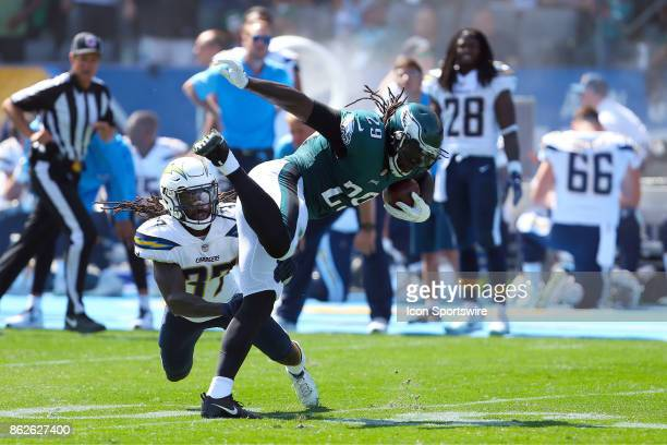 Philadelphia Eagles running back LaGarrette Blount tries to evade Jahleel Addae during the Philadelphia Eagles game versus the Los Angeles Chargers...