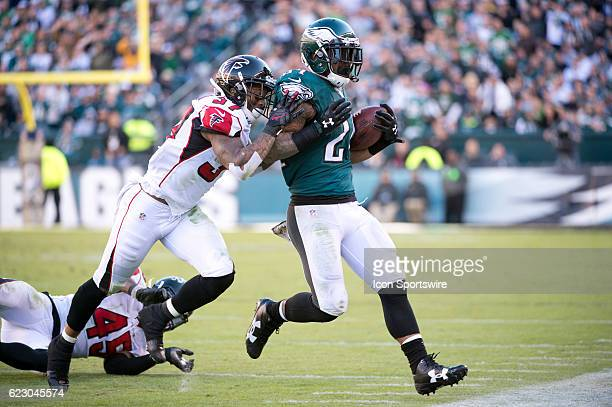 Philadelphia Eagles Running Back Ryan Mathews is pushed out of bounds by Atlanta Falcons Safety Ricardo Allen in the second half during the game...
