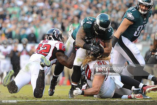Philadelphia Eagles Running Back Ryan Mathews pounds the ball in for a two point conversion during a National Football League game between the...