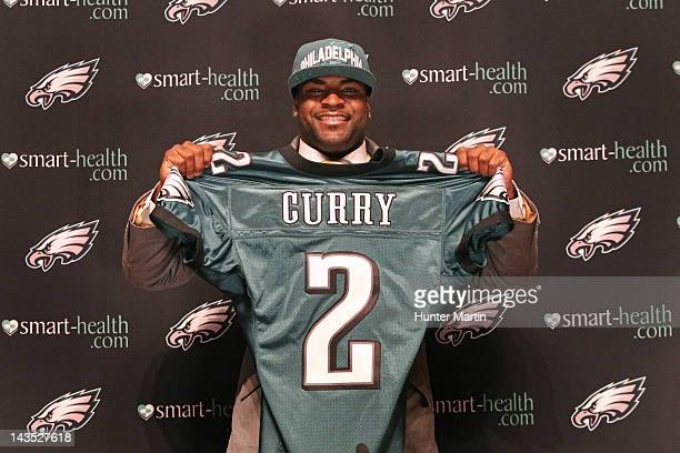 Philadelphia Eagles second round draft pick Vinny Curry speaks to the media during a press conference on April 28 2012 at the NovaCare Complex in...