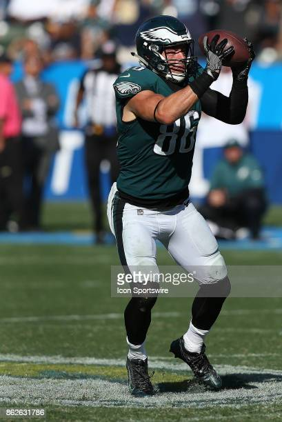 Philadelphia Eagles tight end Zach Ertz hauls in a pass during the Philadelphia Eagles game versus the Los Angeles Chargers on October 1 at StubHub...