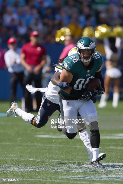 Philadelphia Eagles tight end Zach Ertz looks for extra yards after a reception during the Philadelphia Eagles game versus the Los Angeles Chargers...