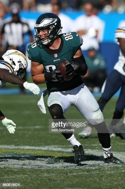 Philadelphia Eagles tight end Zach Ertz runs the ball after a reception during an NFL game against the Los Angeles Chargers in Carson CA on October 1...