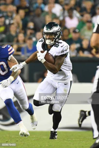 Philadelphia Eagles wide receiver Marcus Johnson runs the ball during a Preseason National Football game between the Buffalo Bills and the...