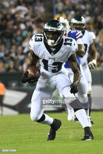 Philadelphia Eagles wide receiver Nelson Agholor runs the ball during a Preseason National Football game between the Buffalo Bills and the...