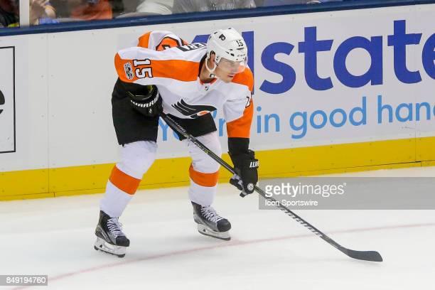 Philadelphia Flyers center Jori Lehtera waits for faceoff during the NHL preseason game between the Philadelphia Flyers and New York Islanders on...