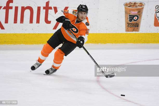 Philadelphia Flyers Center Valtteri Filppula passes the puck during a National Hockey League game between the Carolina Hurricanes and the...