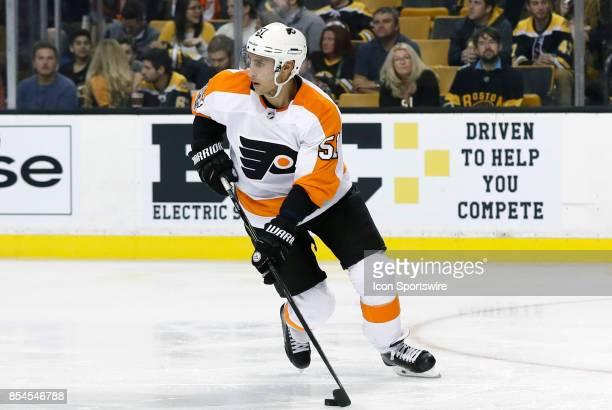 Philadelphia Flyers center Valtteri Filppula turns up ice during a preseason game between the Boston Bruins and the Philadelphia Flyers on September...