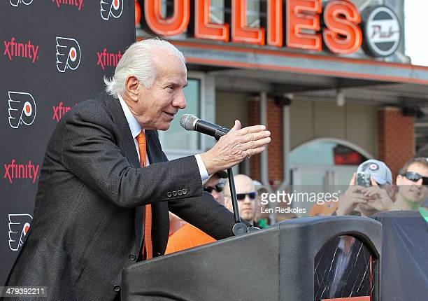 Philadelphia Flyers Chairman Ed Snider speaks at the unveiling of a statue of Hockey HallofFamer Fred Shero at Xfinity Live outside of the Wells...
