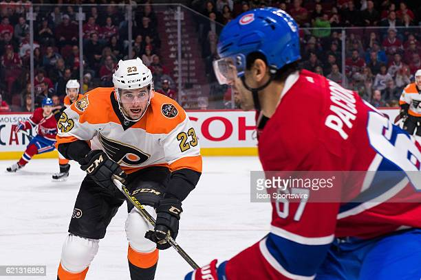 Philadelphia Flyers Defenceman Brandon Manning heading straight for Montreal Canadiens Left Wing Max Pacioretty during the Philadelphia Flyers versus...