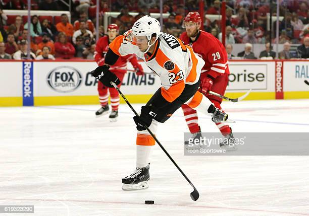 Philadelphia Flyers Defenceman Brandon Manning puts a shot on net during the 3rd period of the Carolina Hurricanes game verus the Philadelphia Flyers...