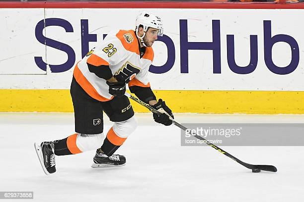 Philadelphia Flyers Defenceman Brandon Manning skates with the puck during a National Hockey League game between the Dallas Stars and the...
