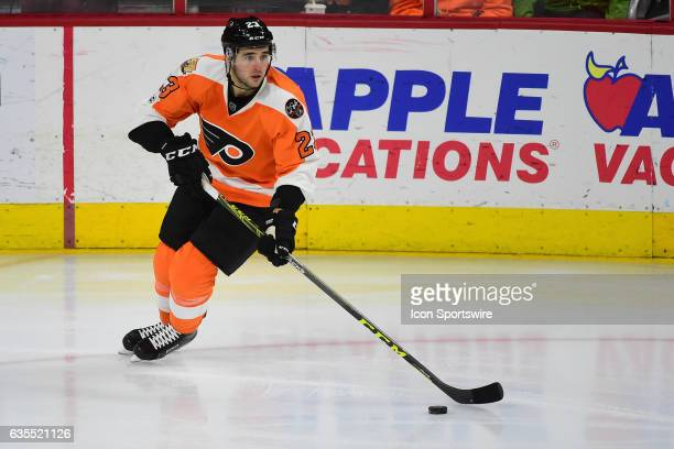 Philadelphia Flyers Defenceman Brandon Manning skates with the puck during a National Hockey League game between the New York Islanders and the...