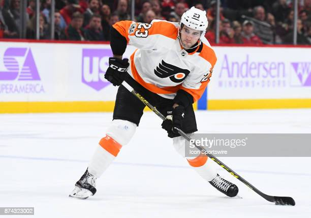 Philadelphia Flyers Defenceman Brandon Manning takes a shot during a NHL game between the Minnesota Wild and Philadelphia Flyers on November 14 2017...