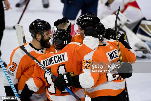 Philadelphia Flyers Defenceman Radko Gudas Right Wing Travis Konecny Left Wing Dale Weise and Defenceman Ivan Provorov celebrate a goal in the second...